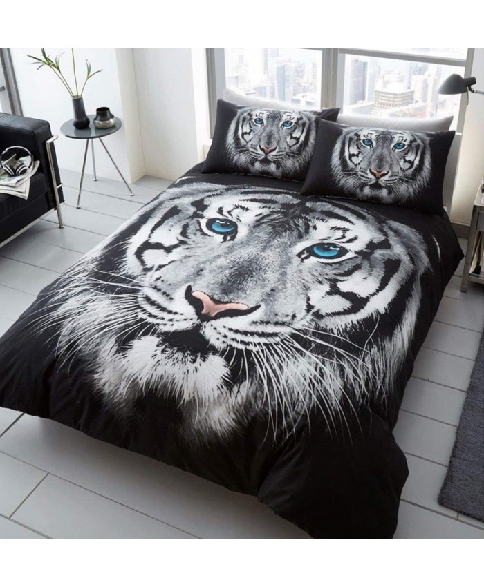 3D White Tiger Duvet Cover Set Reversible