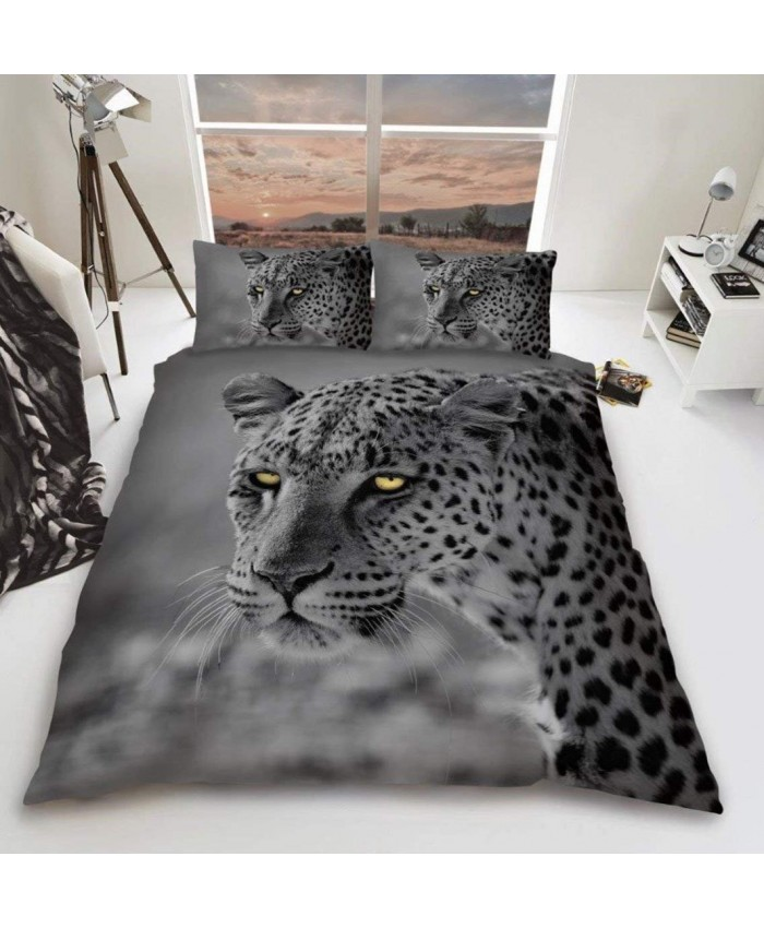3D Grey Leopard Duvet Cover Set Reversible