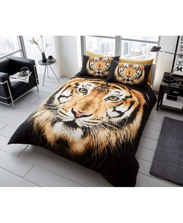 3D Tiger Face Duvet Cover Set Reversible