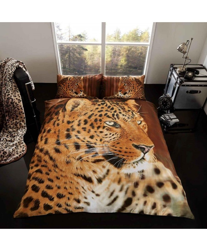 3D Leopard Duvet Cover Set Reversible