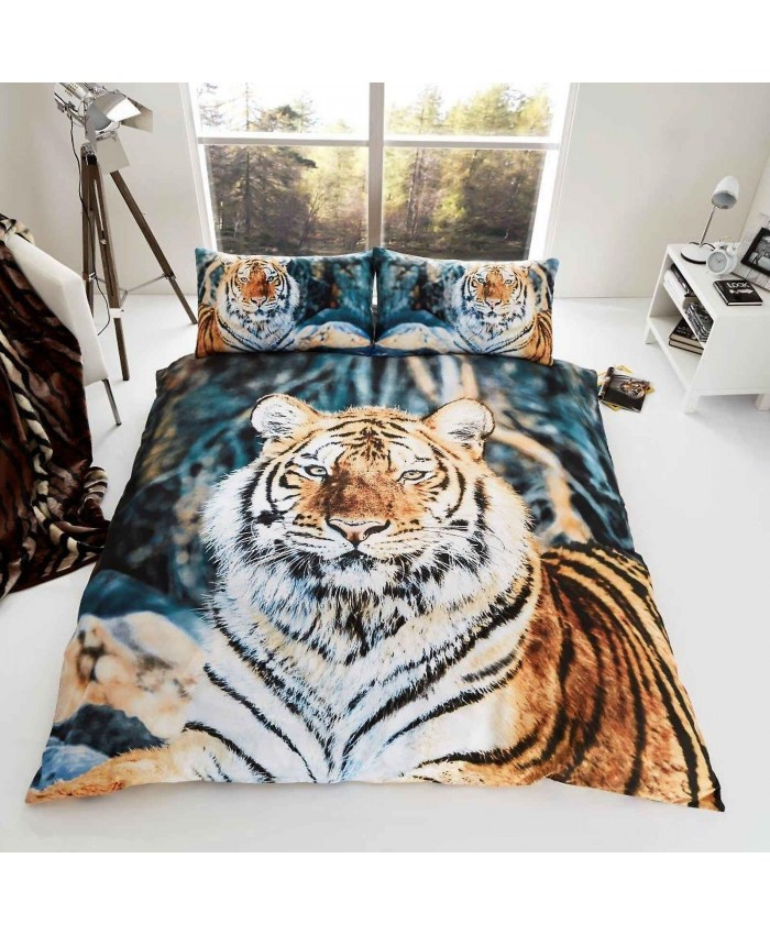 3D Tiger Duvet Cover Set Reversible