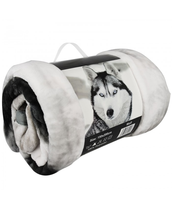 3D White Wolf Throw Blanket - Double/Large