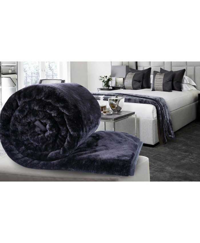 Black Large Mink Faux Fur Throw Blanket | The Nights Range