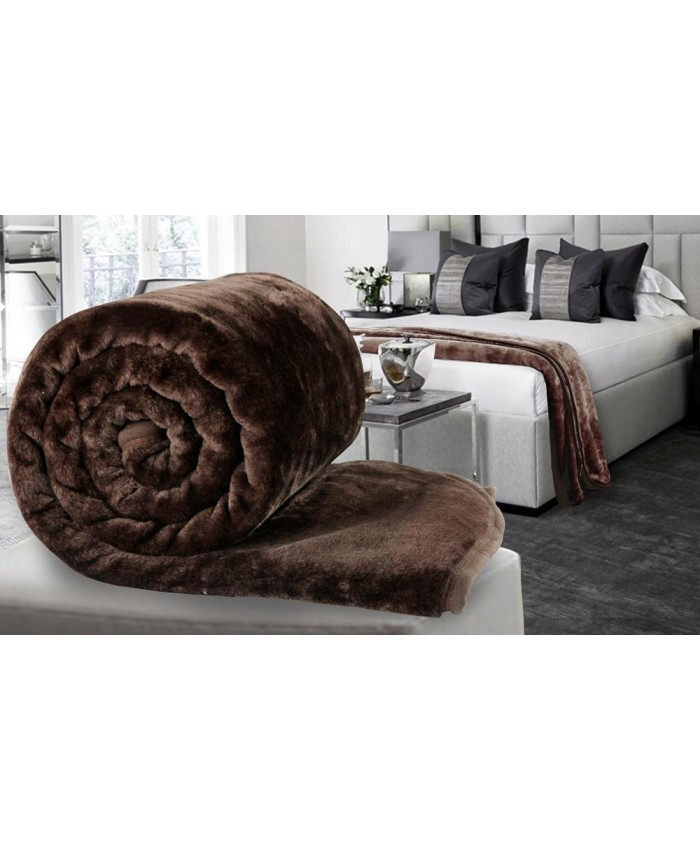 Chocolate Brown Large Mink Faux Fur Throw Blanket | The Nights Range