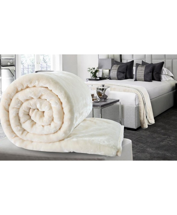 Cream Large Mink Faux Fur Throw Blanket | The Nights Range