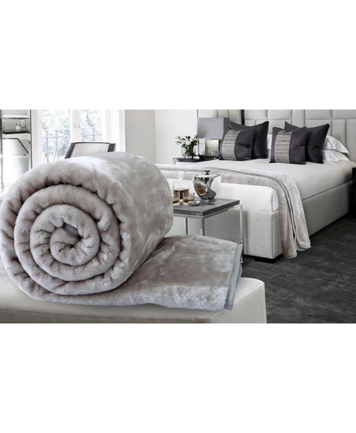 Silver Grey Large Mink Faux Fur Throw Blanket | The Nights Range