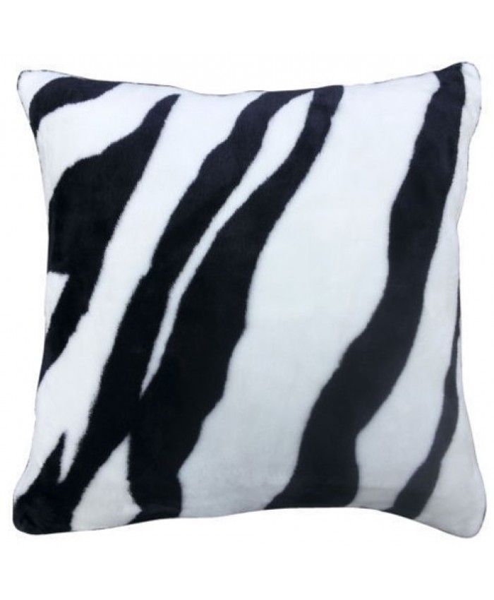 Zebra Faux Fur Animal Cushion Cover with Cushion