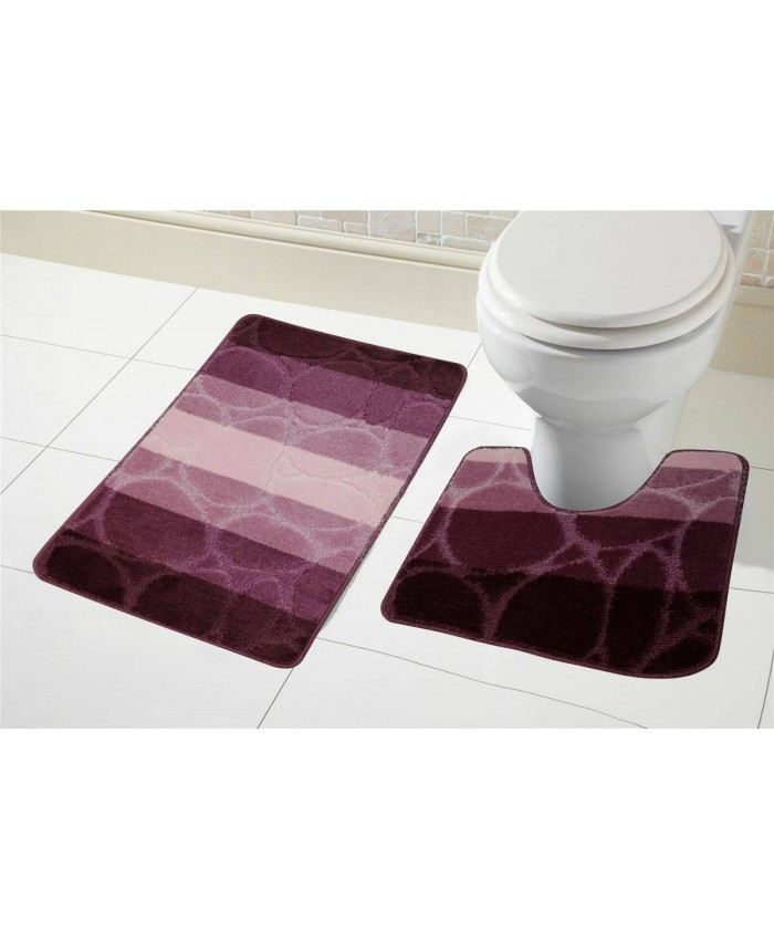 Purple 2Pcs Striped Bath Mat | Olivia Rocco