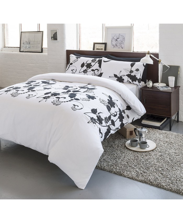 Olivia Rocco Floral Trail White Black Duvet Cover Set