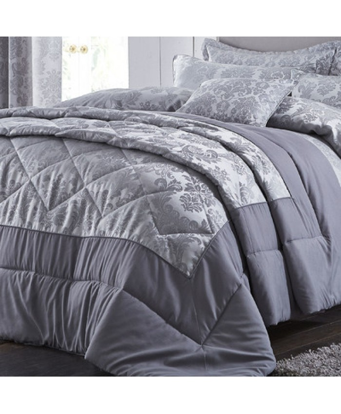 Damask Jacquard Bedspread Silver| Catherine Lansfield