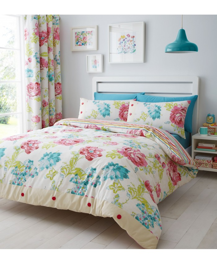 Stab Stitch Floral Duvet Cover Set | Catherine Lansfield