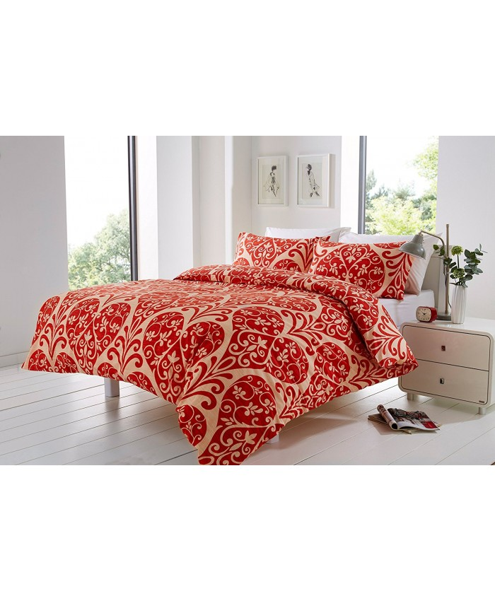 Olivia Rocco Chloe Red & Cream | Duvet Cover Set