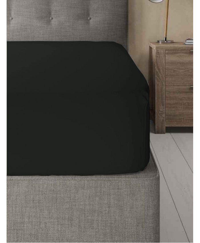 Extra Deep Non Iron 180TC Fitted Sheet | Black