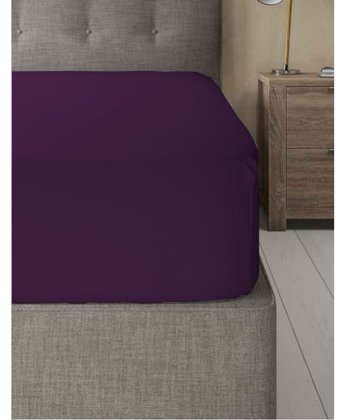 Extra Deep Non Iron 180TC Fitted Sheet | Plum Purple