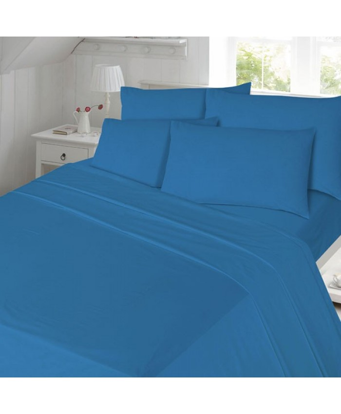 Blue Fitted Flannelette Brushed Cotton 100% Cotton Sheet