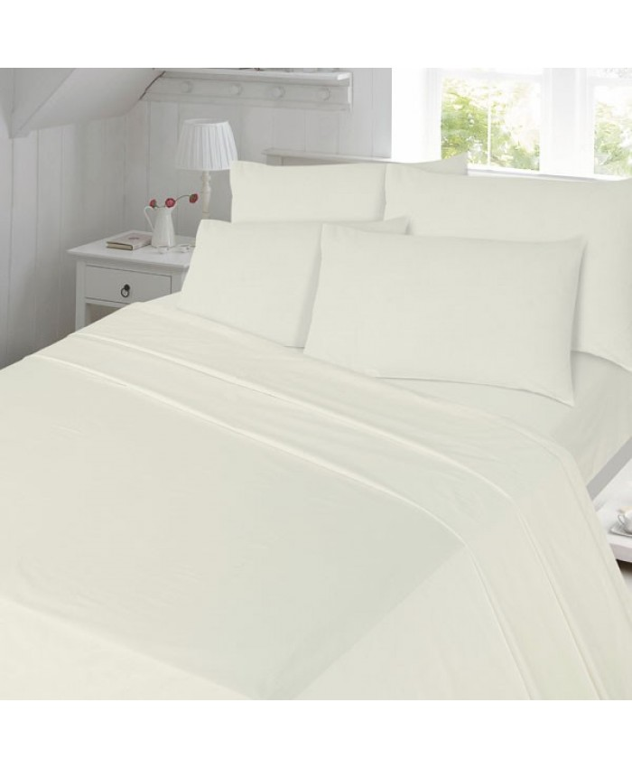 Cream Fitted Flannelette Brushed Cotton 100% Cotton Sheet