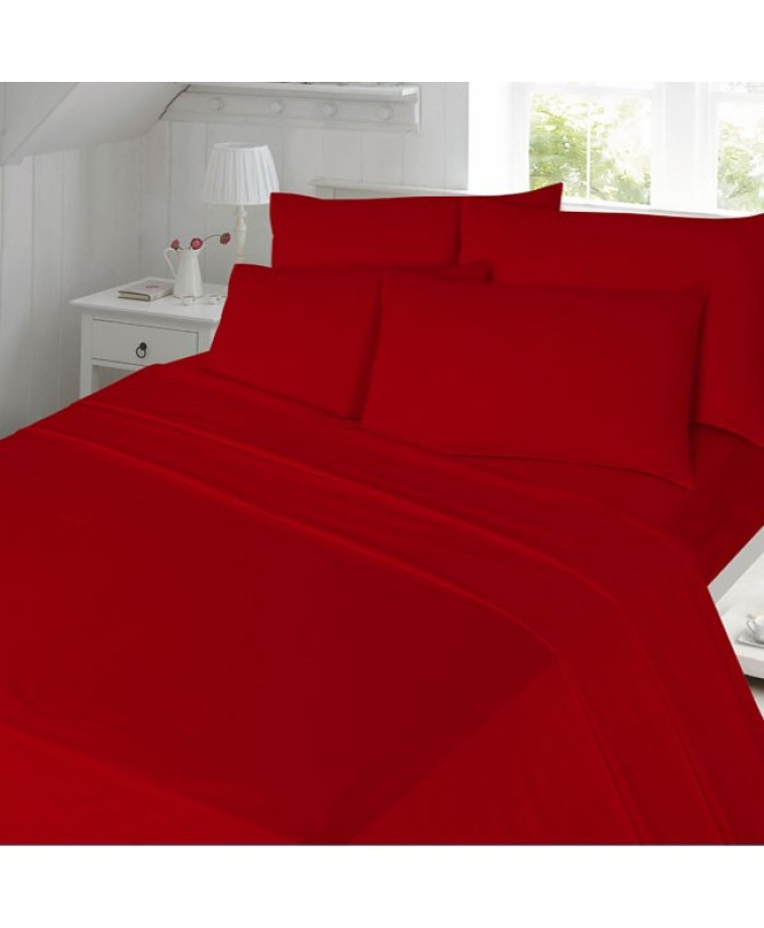 Red Flat Flannelette Brushed Cotton 100% Cotton Sheet