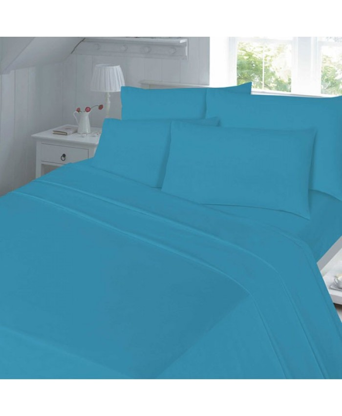 Teal Fitted Flannelette Brushed Cotton 100% Cotton Sheet
