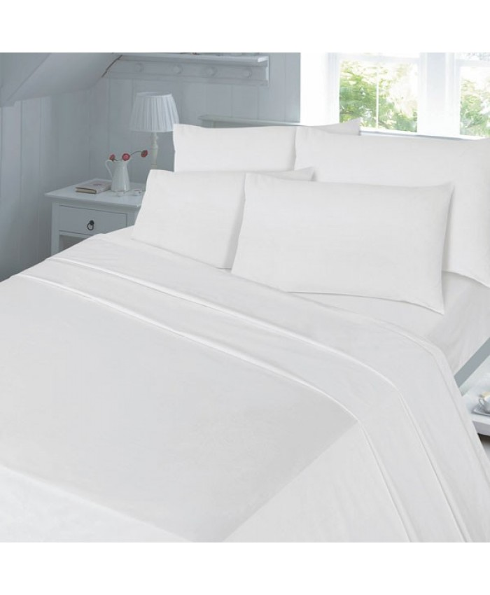 White Fitted Flannelette Brushed Cotton 100% Cotton Sheet