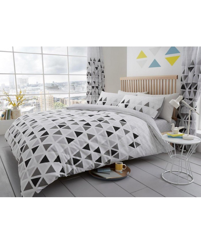 Geo Triangle Grey Duvet Cover Set | Gaveno Cavailia