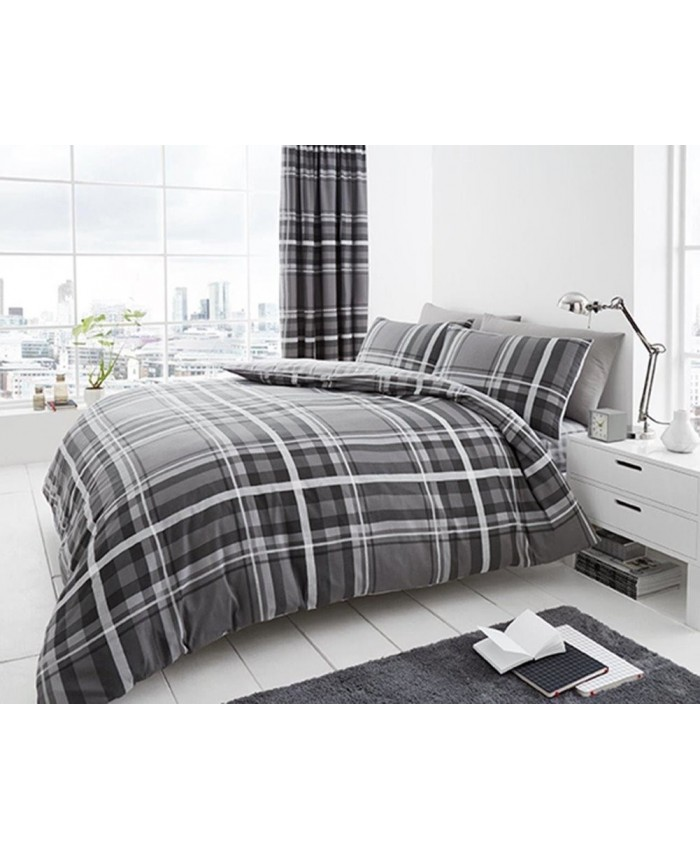 Newton Tartan Grey Reversible Duvet Cover Set | Gaveno Cavailia