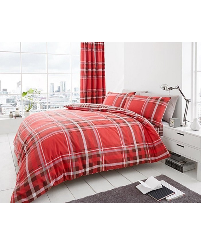 Newton Tartan Red Reversible Duvet Cover Set | Gaveno Cavailia