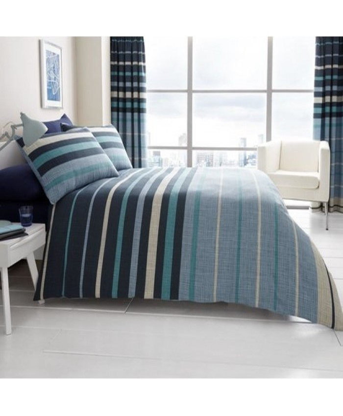 Block Stripes Blue Reversible Duvet Cover Set| Gaveno Modula