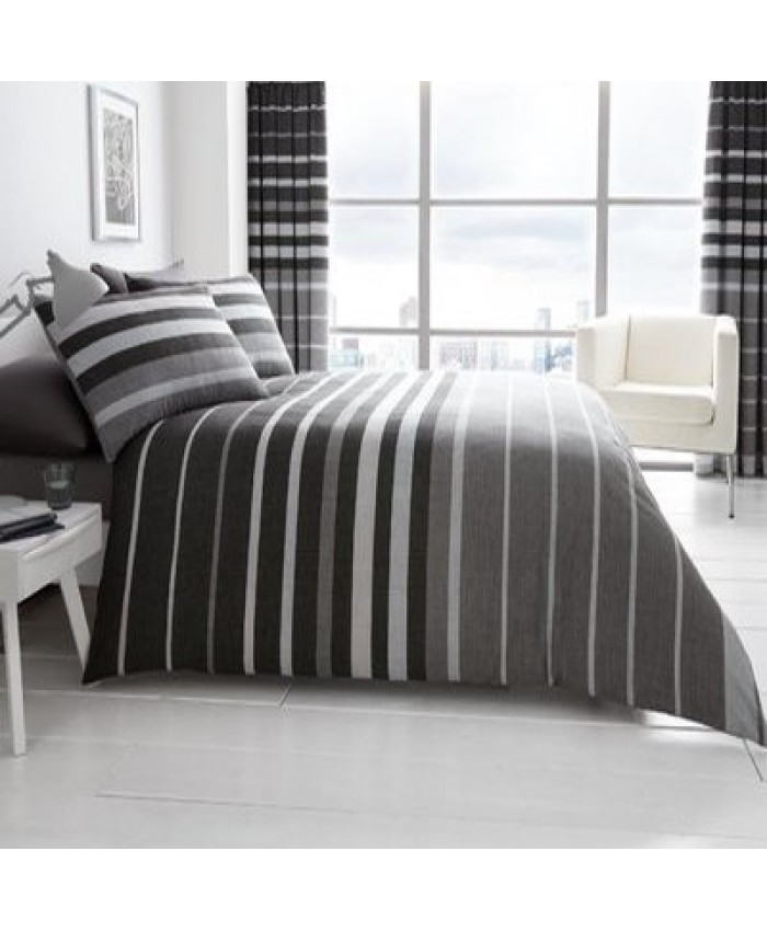 Block Stripes Grey Reversible Duvet Cover Set| Gaveno Modula