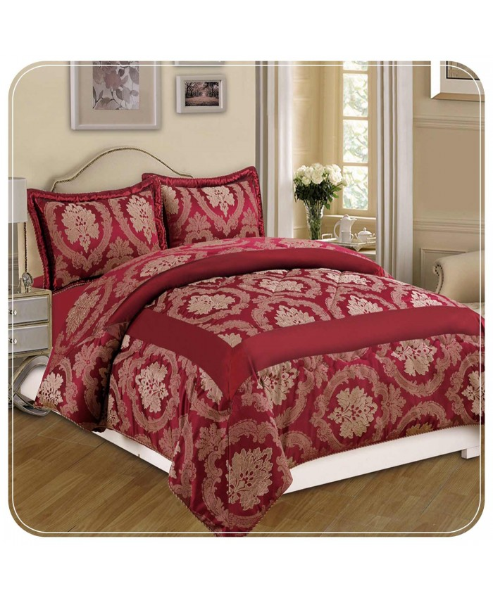Jacquard Burgundy 3PC Bedspread | Imperial Rooms