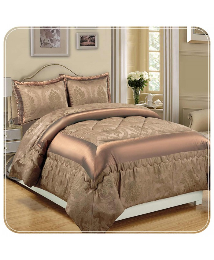 Jacquard Caramel 3PC Bedspread | Imperial Rooms