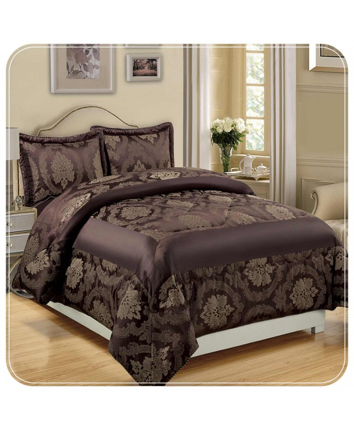 Jacquard Chocolate 3PC Bedspread | Imperial Rooms