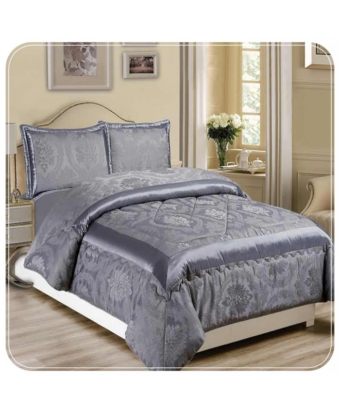 Jacquard Grey 3PC Bedspread | Imperial Rooms