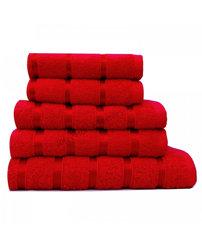 Red Egyptian Cotton 500GSM Towel Set