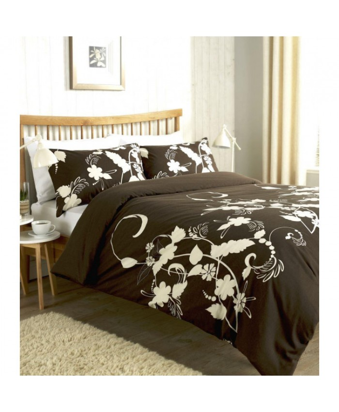 Olivia Rocco Floral Trail Chocolate Brown and Cream Duvet Cover Set