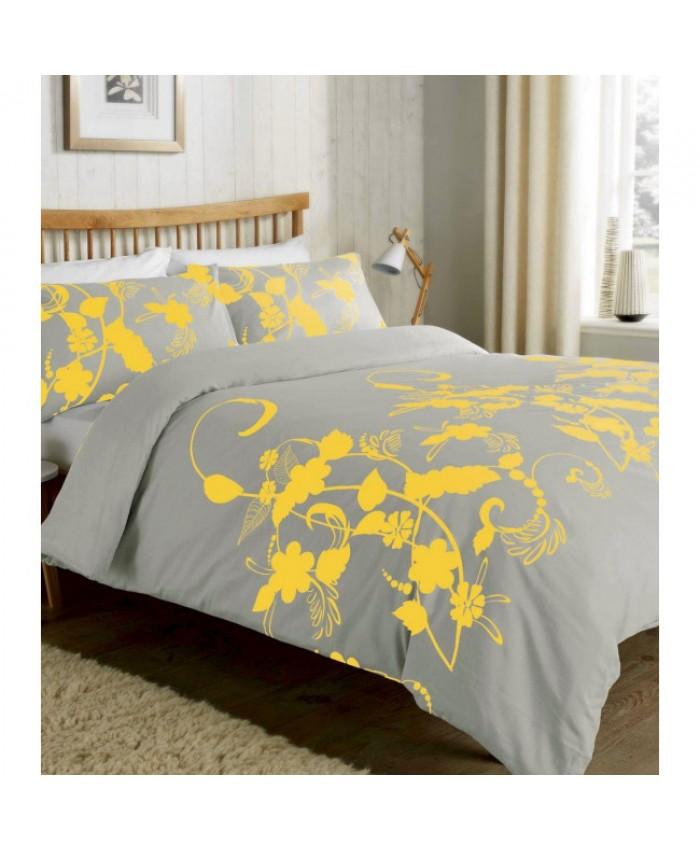 Olivia Rocco Floral Trail Ochre Yellow and Grey Duvet Cover Set