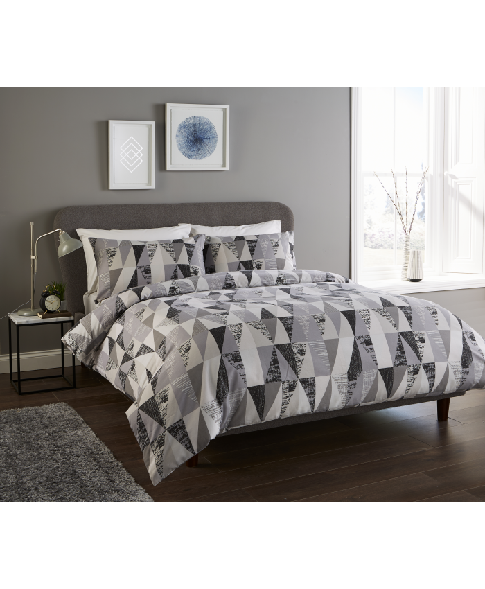 Olivia Rocco Geo Monochrome Grey | Duvet Cover Set