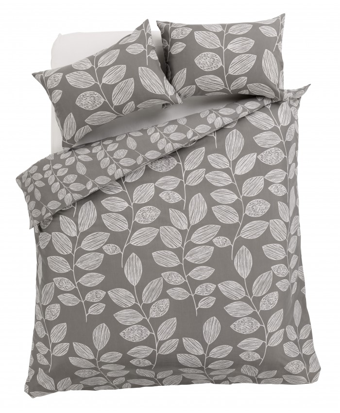 Olivia Rocco Leaves Grey | Duvet Cover Set