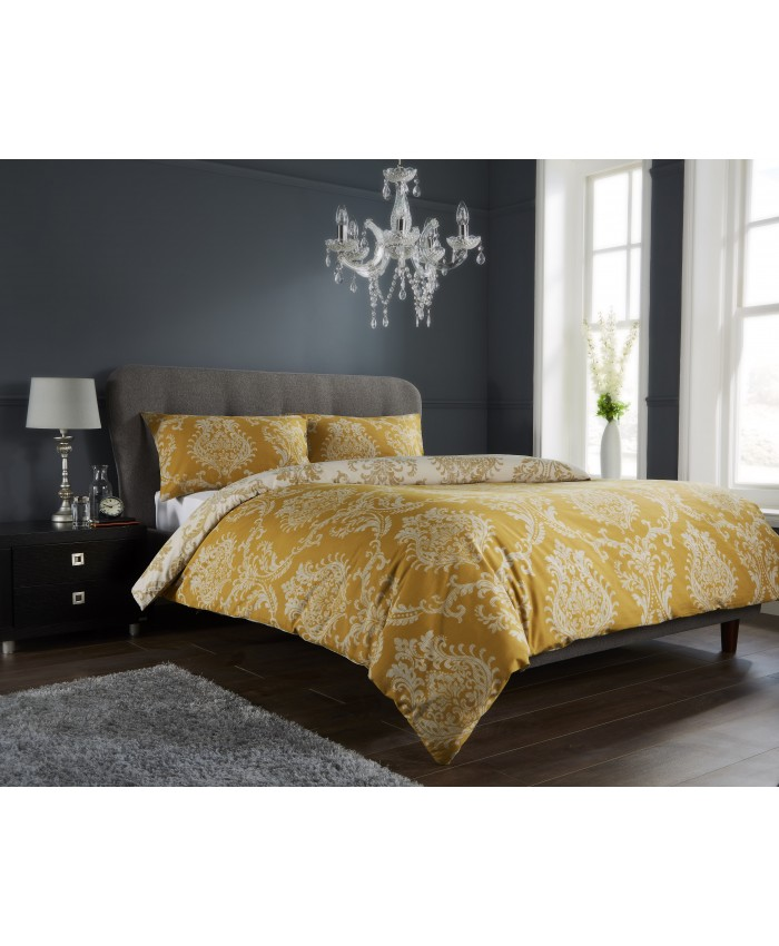 Olivia Rocco Royal Damask Yellow Gold & White Reversible | Duvet Cover Set