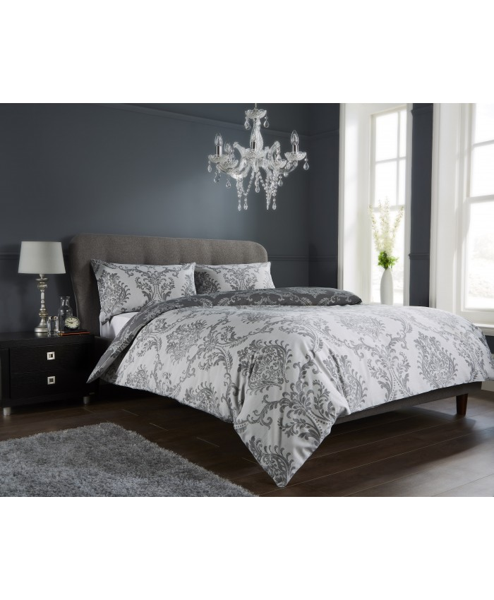 Olivia Rocco Royal Damask Grey & White Reversible | Duvet Cover Set