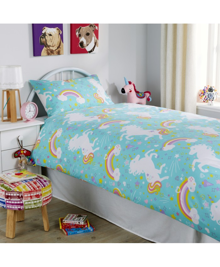 Olivia Rocco Unicorn Duckegg Blue | Duvet Cover Set
