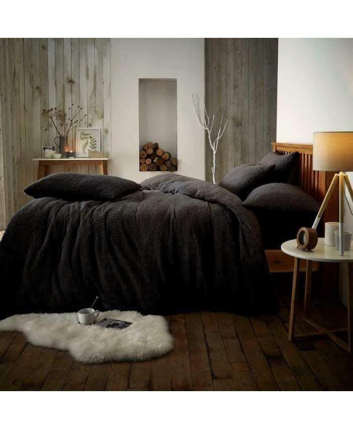 Teddy Fur Fleece Sherpa Duvet Cover Set | Black