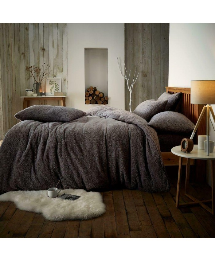 Teddy Fur Fleece Sherpa Duvet Cover Set | Dark Grey