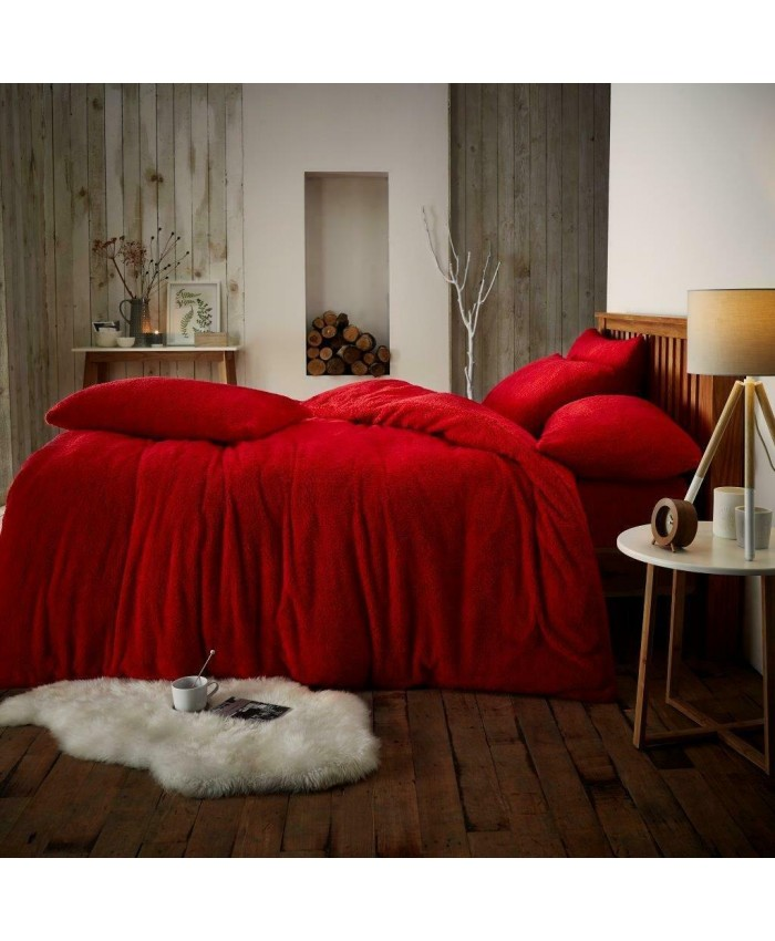 Teddy Fur Fleece Sherpa Duvet Cover Set | Red