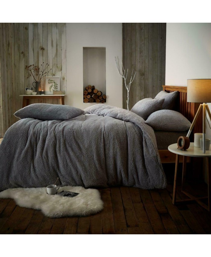 Teddy Fur Fleece Sherpa Duvet Cover Set | Silver Grey
