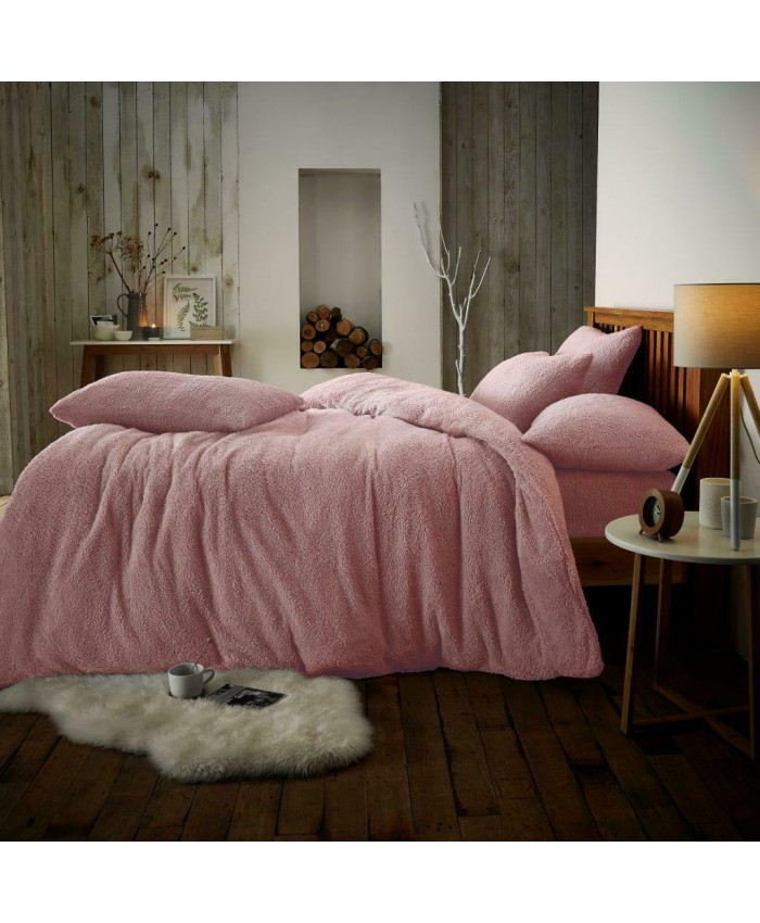 Teddy Fur Fleece Sherpa Duvet Cover Set | Light Pink